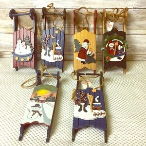 Rustic Christmas Bundle of 6 sled